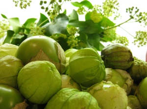 A pile of tomatillos on my counter