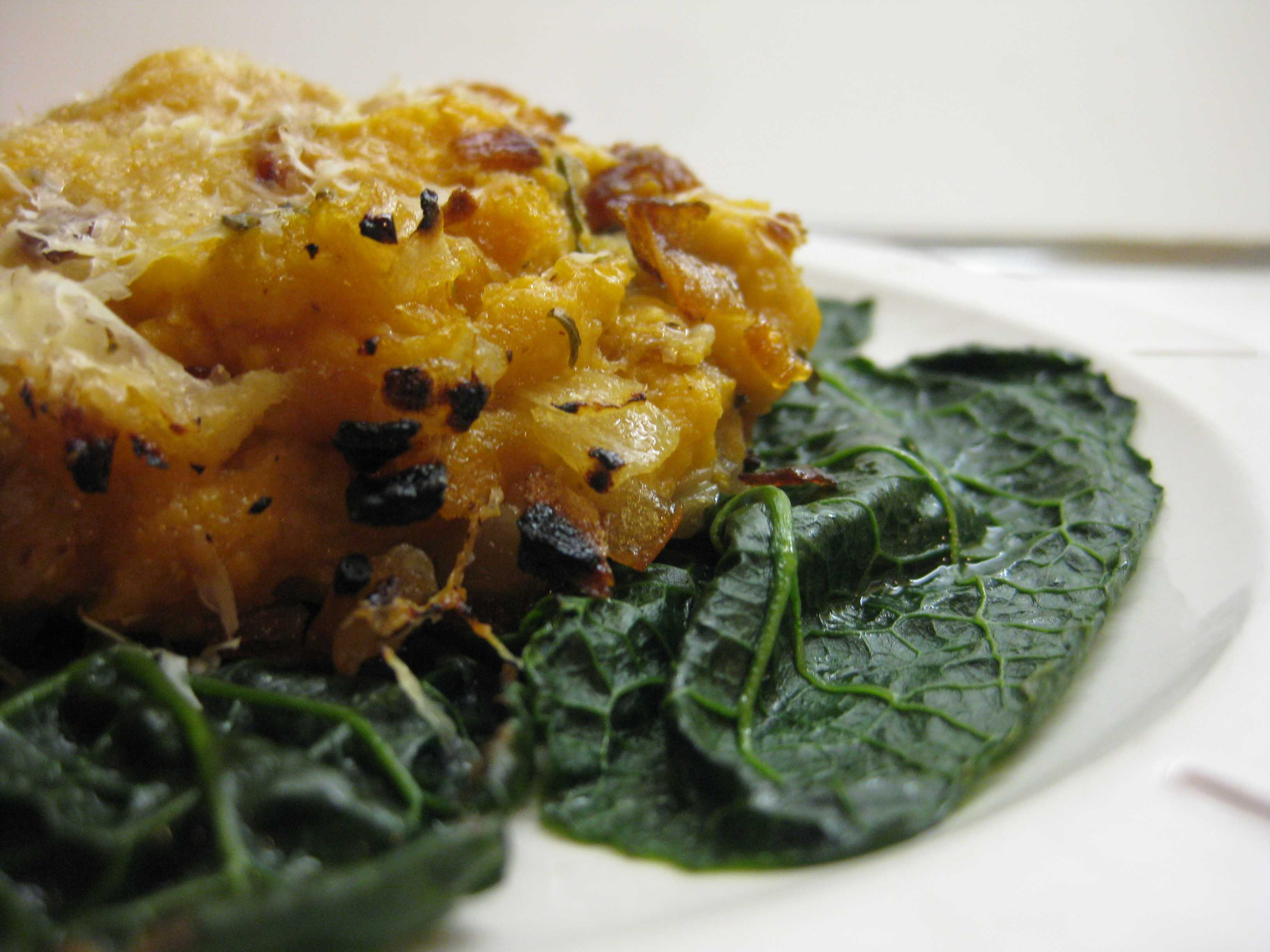 In which I serve a satisfying pumpkin polenta on a bed of kale ...