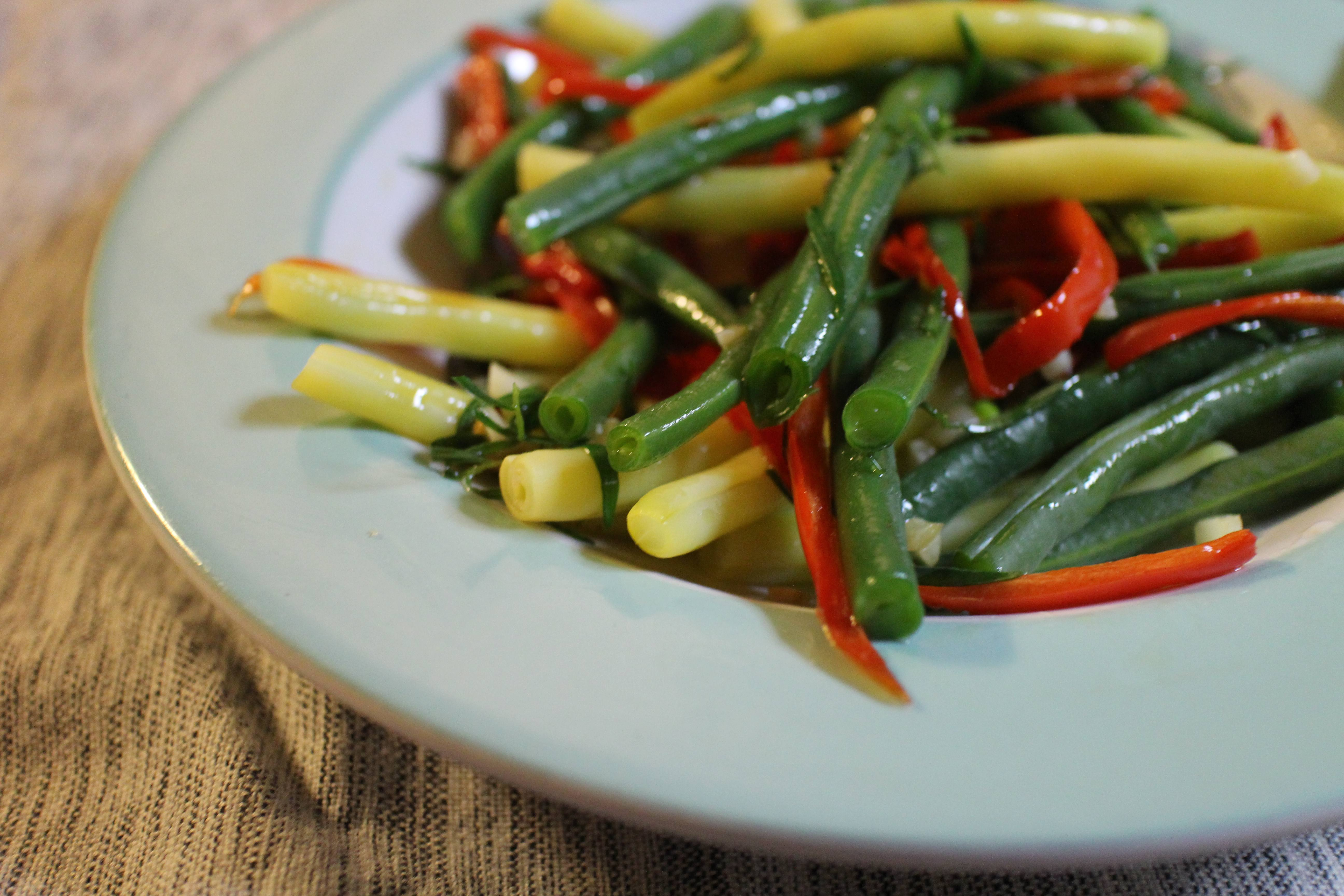 ... blackened green beans with red crispy green beans change roasted green