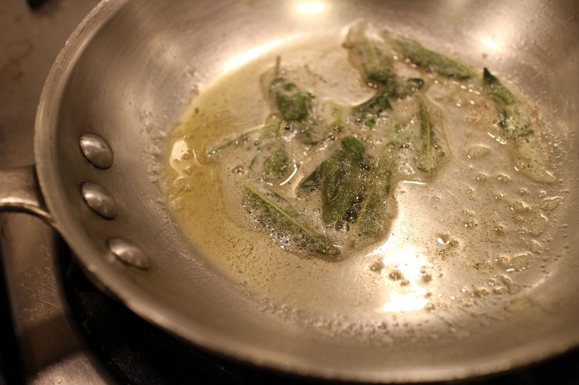 2014 0306 IMG_3961 Browning sage leaves in butter