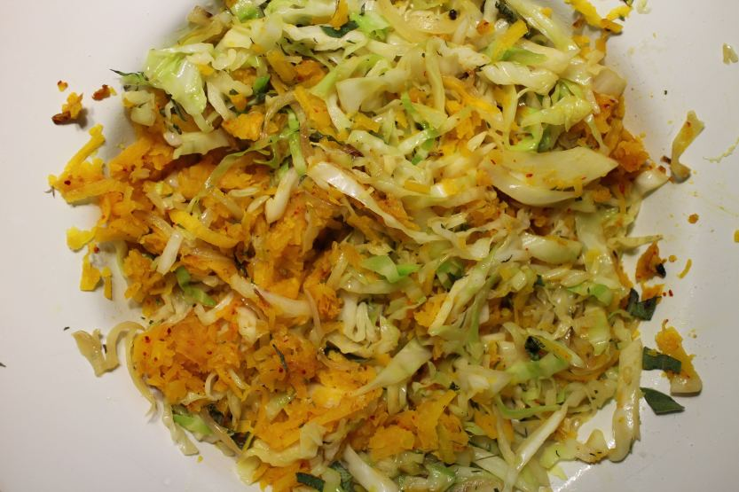 2014 0308 IMG_3938 Sauteed squash and cabbage