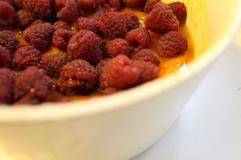 Raspberries added to apricots