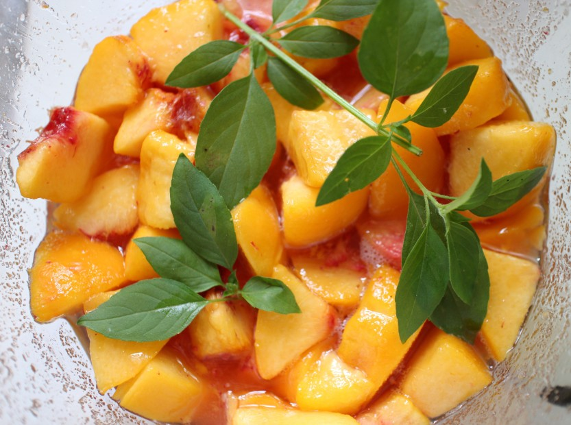 2014 0905 Peaches macerating with lemon basil