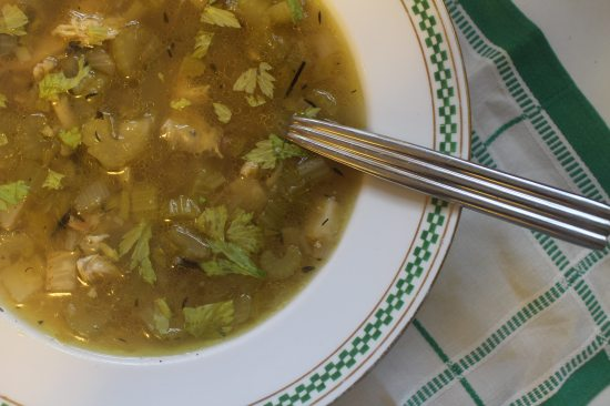 2015 0103 Roasted chicken and celery soup with wild rice