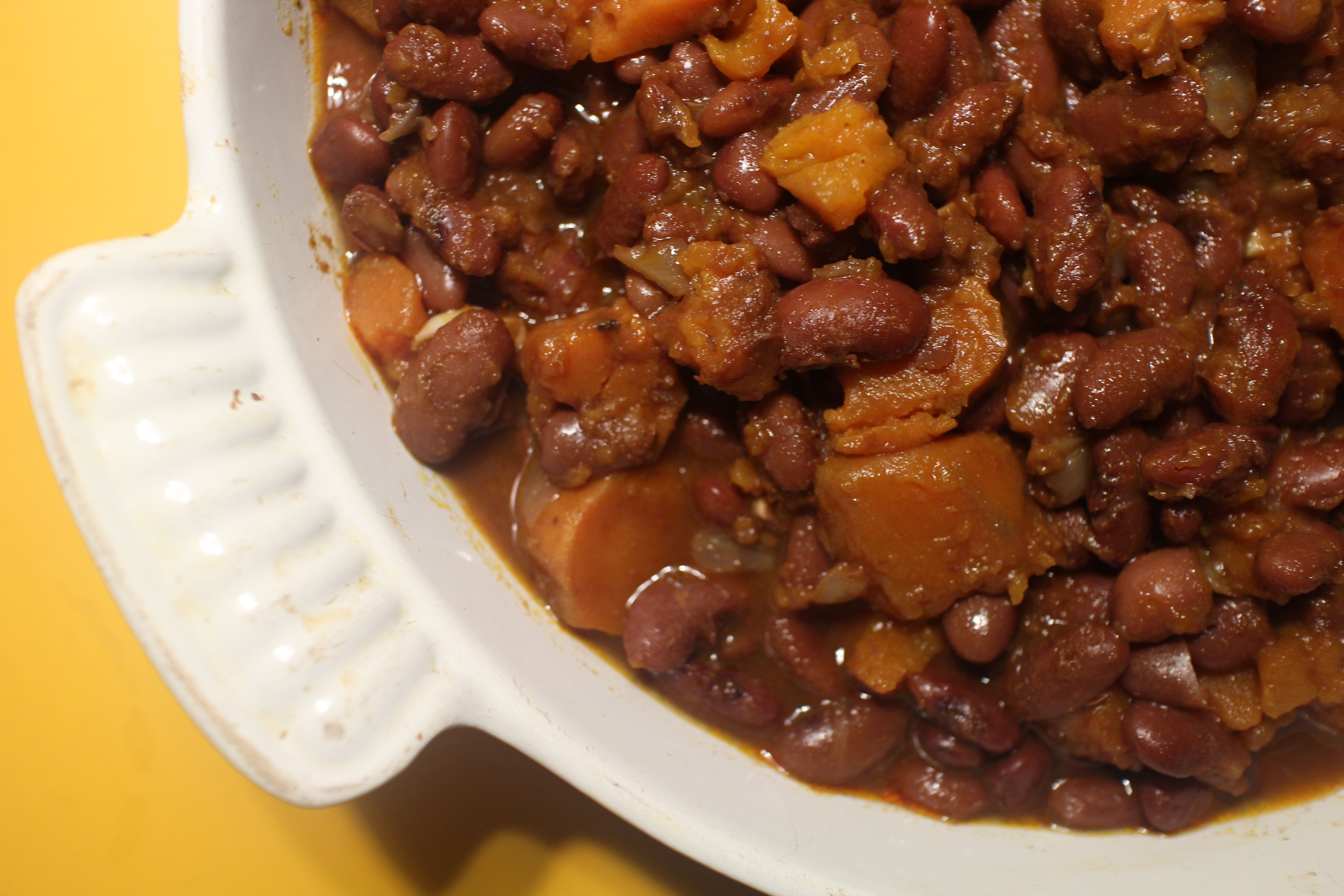 Baked Beans with Sweet Potatoes and Chipotles