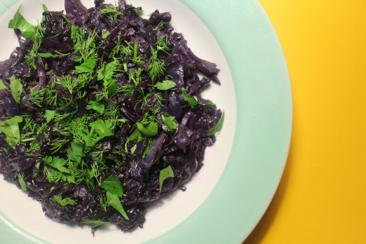 2015 0417 Red cabbage, forbidden rice, parsley and dill