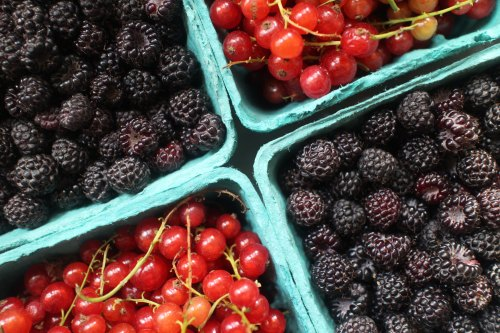 2015 0703  Wild raspberries and red currrants in baskets