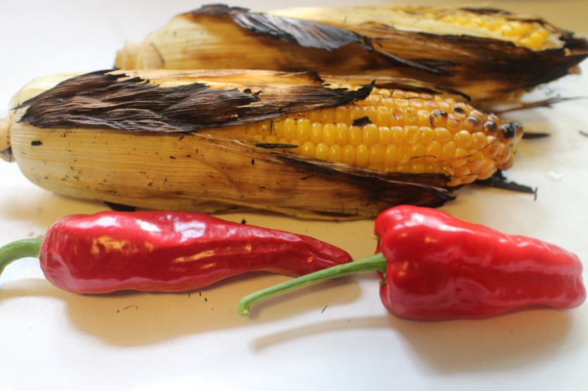 2015 0809 Grilled corn and red peppers